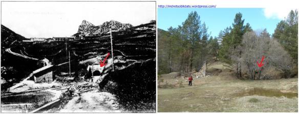 Comparació entre una fotografia dels anys vint del segle XX i una de març de 2013. Pràcticament a l'actualitat la boca d'accés a la mina Pepita està enterrada